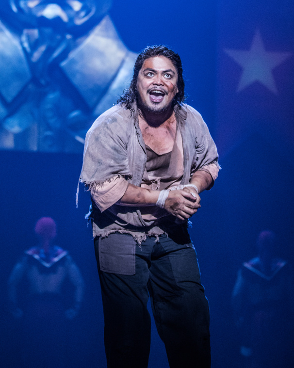 Red Concepción as The Engineer in the North American tour of Miss Saigon, photo by Matthew Murphy