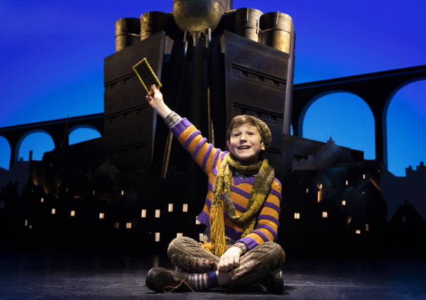 Collin Jeffery as Charlie Bucket in the national tour of Roald Dahl's Charlie and the Chocolate Factory