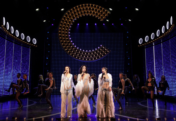 Teal Wicks as Lady, Stephanie J. Block as Star and Micaela Diamond as Babe in The Cher Show.