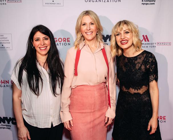 Hadestown director Rachel Chavkin and creator Anaïs Mitchell with JGO's Lauren Reid.