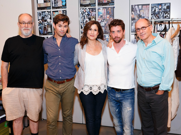 Composer and lyricist William Finn, Andrew Rannells, Stephanie J. Block, Christian Borle and scribe and director James Lapine prepare for Falsettos' Great White Way return.