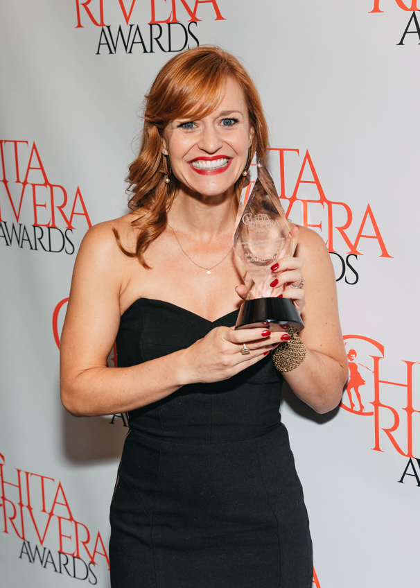 Megan Sikora is all smiles for her win for her outstanding dancing in Holiday Inn.