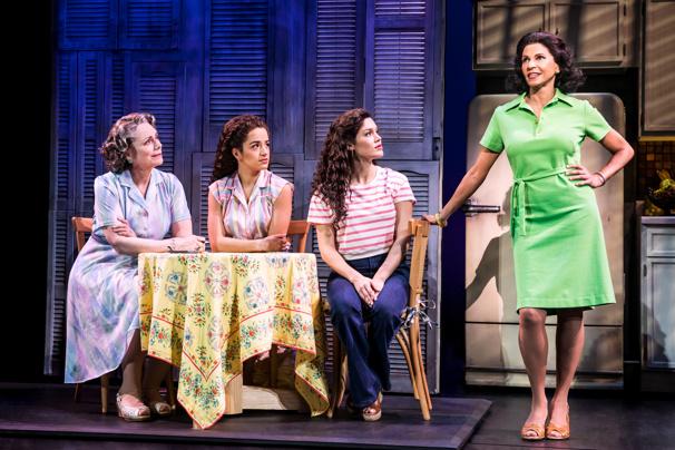 Alma Cuervo as Consuelo, Claudia Yanez as Rebecca, Christie Prades as Gloria Estefan and Nancy Ticotin as Gloria Fajardo in the national tour of On Your Feet.