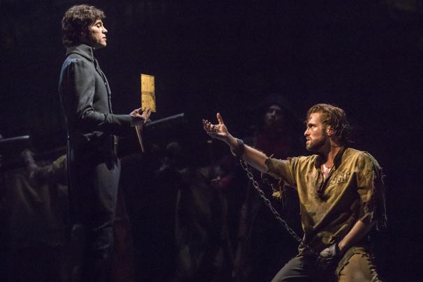 Josh Davis as Javert and Nick Cartell as Jean Valjean in Les Miserables
