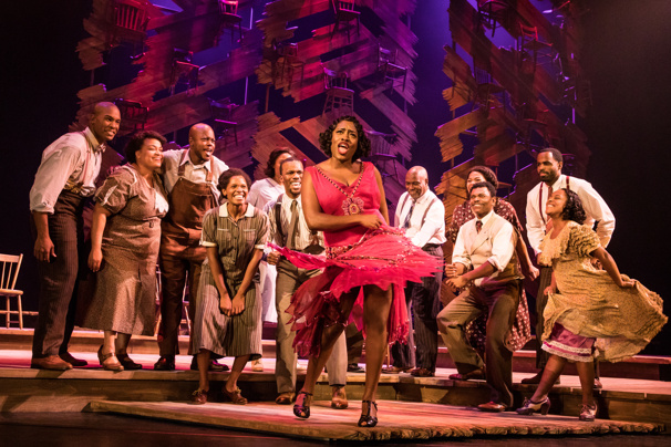 Carla R. Stewart (Shug Avery) & the North American tour cast of The Color Purple, photo by Matthew Murphy