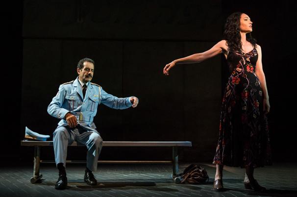 Tony Shalhoub as Tewfiq and Katrina Lenk as Dina in The Band's Visit
