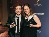SpongeBob SquarePants' Ethan Slater and Carousel's Jessie Mueller proudly display their Drama Desk Awards.