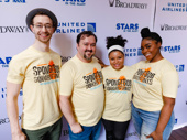 """Spongebob Squarepants cast members Alex Gibson, Brian Ray Norris, Brynn Williams and Jai'Len Christine pose after wowing the audience with """"Daddy Knows Best."""""""