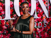 Harry Potter and the Cursed Child Tony nominee Noma Dumezweni practices holding the coveted trophy.