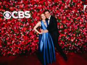 Waitress star Erich Bergen hugs Jessica Keenan Wynn.