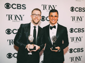 Once On This Island producers Hunter Arnold and Ken Davenport show off their Tonys for Best Revival of a Musical.
