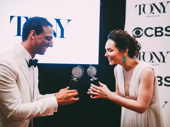 The Band's Visit co-stars Ari'el Stachel and Katrina Lenk show off their new Tonys.