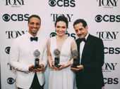 The Band's Visit stars Ari'el Stachel, Katrina Lenk and Tony Shalhoub pose with their awards.