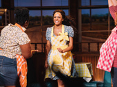Nicolette Robinson is all smiles for her curtain call in Waitress.