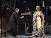 Jason Butler Harner as Edmond Rostand and Janet McTeer as Sarah Bernhardt in in Bernhardt/Hamlet.