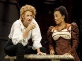 Janet McTeer as Sarah Bernhardt and Brittany Bradford as Lystette in Bernhardt/Hamlet.