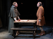 Daniel Pearce as Father Gilbert and Dermot Crowley as Jacques Arc in Mother of the Maid.