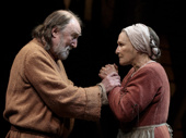 Dermot Crowley as Jacques Arc and Glenn Close as Isabelle Arc in Mother of the Maid.