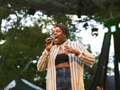 Once On This Island's Alex Newell belts a high note.