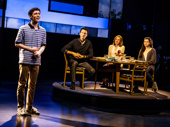 Ben Levi Ross (Evan Hansen), Aaron Lazar (Larry Murphy), Christiane Noll (Cynthia Murphy) & Maggie McKenna (Zoe Murphy) in the national tour of Dear Evan Hansen, photo by Matthew Murphy