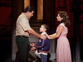 Richard H. Blake (Lorenzo), Frankie  Leoni (Young C) and Michelle Aravena (Rosina) in the national tour of A Bronx Tale, photo by Joan Marcus