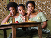 Abena Mensah-Bonsu as Nana, Mirirai Sithole as Mercy and Paige Gilbert as Gifty in School Girls; Or, The African Mean Girls Play.