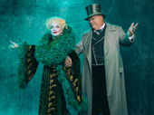 Isabel Keating as Madame Morrible with Kevin Chamberlin as the Wizard.