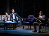 Kerry Washington as Kendra Ellis-Connor, Steven Pasquale as Scott Connor and Eugene Lee as Lieutenant John Stokes in American Son.