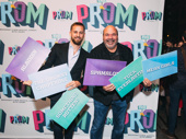 The Prom's hair designer Josh Marquette and Casey Nicholaw display how many times they have worked together.