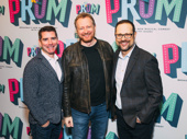 The Prom's composers Chad Beguelin and Matthew Sklar with scribe Bob Martin, who also appeared in the Casey Nicholaw-directed The Drowsy Chaperone.