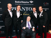 The Phantom of the Opera's musical supervisor David Caddick and previous Phantoms Hugh Panaro and Howard McGillin with current Phantom, Ben Crawford, pose with Philip J. Smith, chairman of the Shubert Organization.