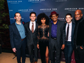 American Son playwright Christopher Demos-Brown with stars Steven Pasquale, Kerry Washington, Eugene Lee, Jeremy Jordan and director Kenny Leon.