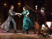 Harry Hadden-Paton as Henry Higgins, Laura Benanti as Eliza Doolittle and Allan Corduner as Colonel Pickering in My Fair Lady.