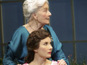 Rosemary Harris as Mrs. Higgins and Laura Benanti as Eliza Doolittle and the cast of My Fair Lady.