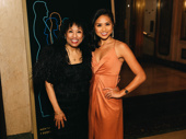 Baayork Lee, who played Connie in the original A Chorus Line, and choreographs the current production, poses for a photo with current Connie, actress Jolina Javier.