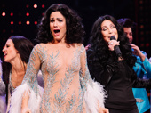 "The Cher Show star Stephanie J. Block and Cher sing ""If I Could Turn Back Time"" after curtain call on opening night."