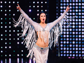 The Cher Show's Teal Wicks celebrates at curtain call.