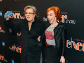 Comedians Rosie O'Donnell and Kathy Griffin have fun on the carpet.
