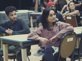 Jordan Fisher and Vanessa Hudgens listen up in rehearsal.