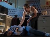 Paul Dano as Austin and Ethan Hawke as Lee in True West.