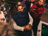 Party time! Lin-Manuel Miranda embraces his former Hamilton co-star Leslie Odom Jr.