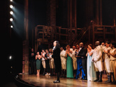 Lin-Manuel Miranda takes in the crowd during the opening night curtain call.