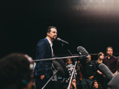 Let's get this guy in front of a crowd! Lin-Manuel Miranda addresses the press post-performance.