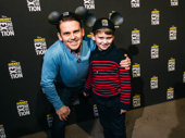 Frozen star Robert Creighton brings his son along for some Disney fun.