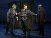 Danny Burstein as Alfred P. Doolittle and the cast of My Fair Lady.