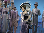 Allan Corduner as Colonel Pickering, Laura Benanti as Eliza Doolittle, Christian Dante White as Freddy Eynsford-Hill and the cast of My Fair Lady.