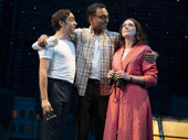 Ben Steinfeld as Frank, Manu Narayan as Charley and Jessie Austrian as Mary in Merrily We Roll Along.