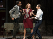 Manu Narayan as Charley, Jessie Austrian as Mary and Ben Steinfeld as Frank in Merrily We Roll Along.