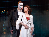 Ben Crawford as The Phantom and Kaley Ann Voorhees as Christine in The Phantom of the Opera.