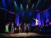 Reeve Carney and the cast of Hadestown raise a glass.